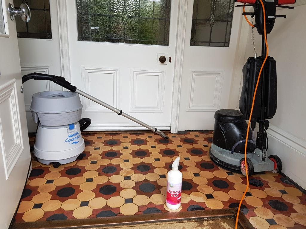 Victorian Tiles During Cleaning