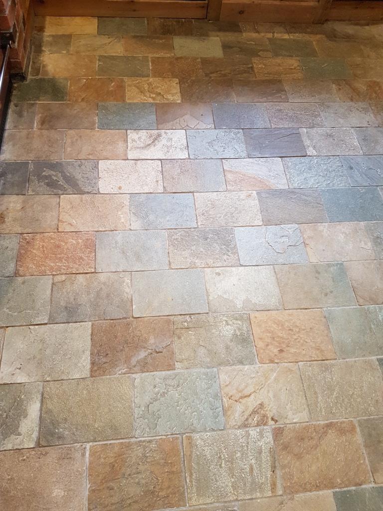 Welsh Slate Kitchen Floor Tiles Before Cleaning