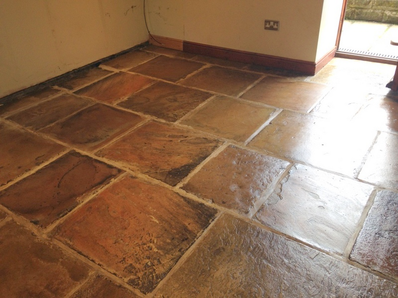 Yorkstone floor after cleaning and sealing