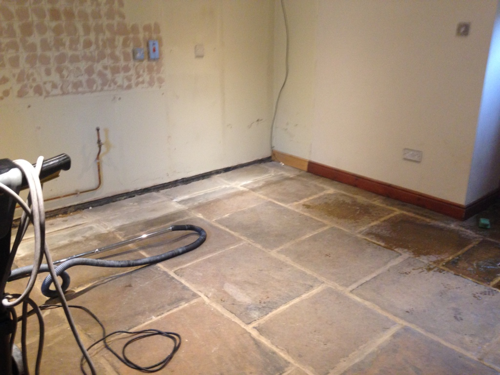 Yorkstone floor before cleaning and sealing