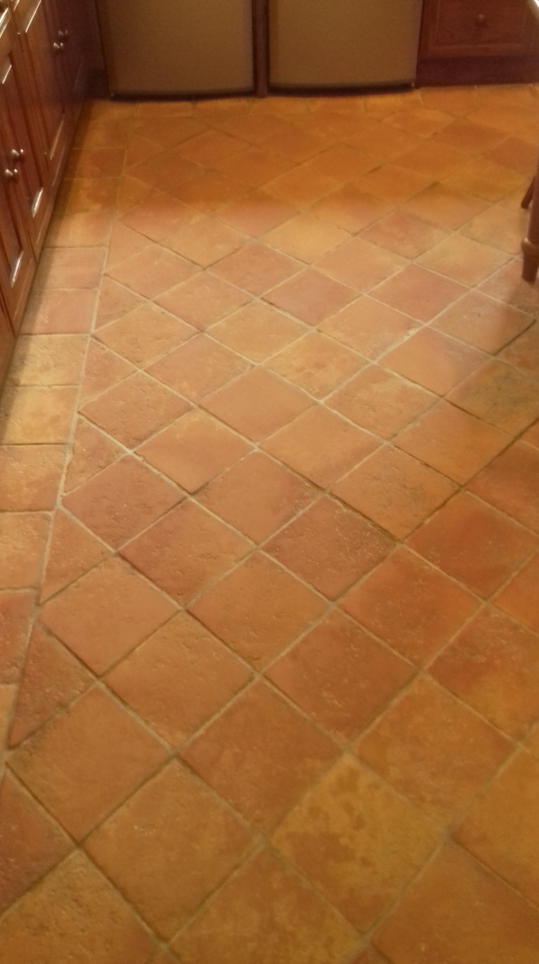 1970s Terracotta Tiled Floor After Restoration Chilham Cottage