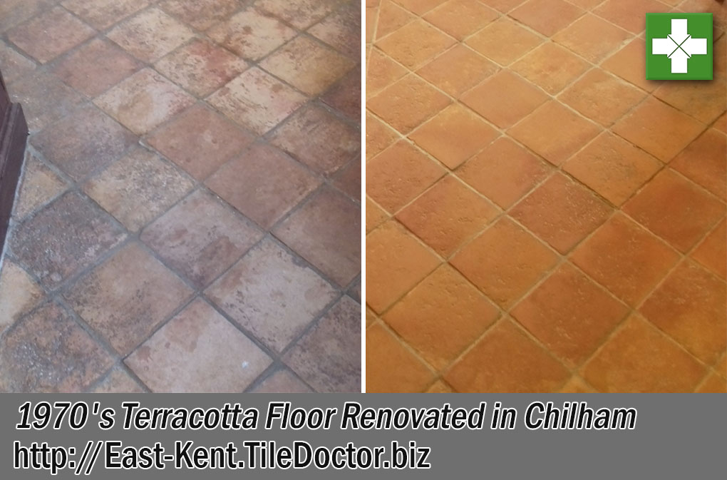 1970s Terracotta Tiled Floor Before After Renovation Chilham