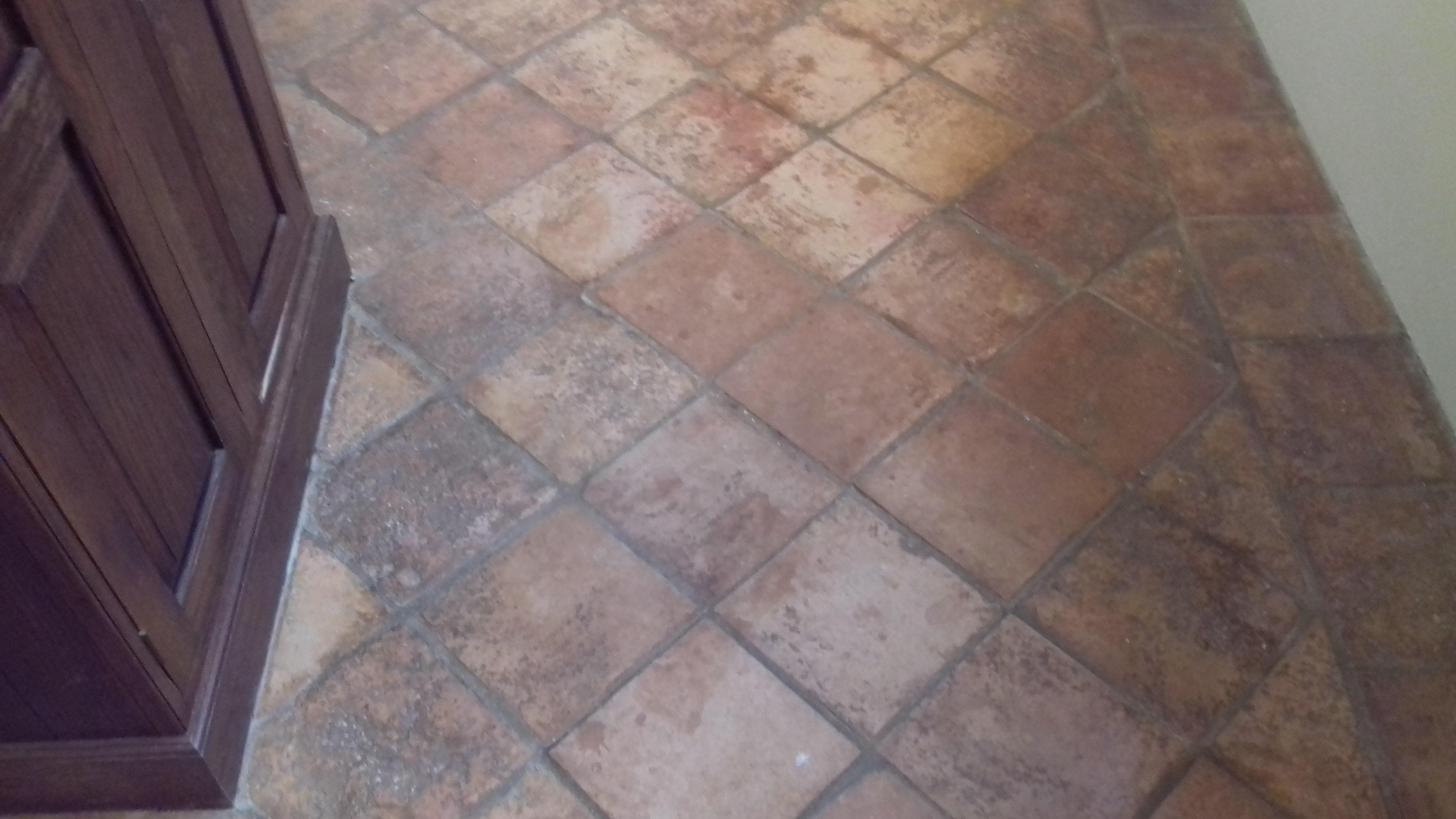 1970s Terracotta Tiled Floor Before Restoration Chilham Cottage