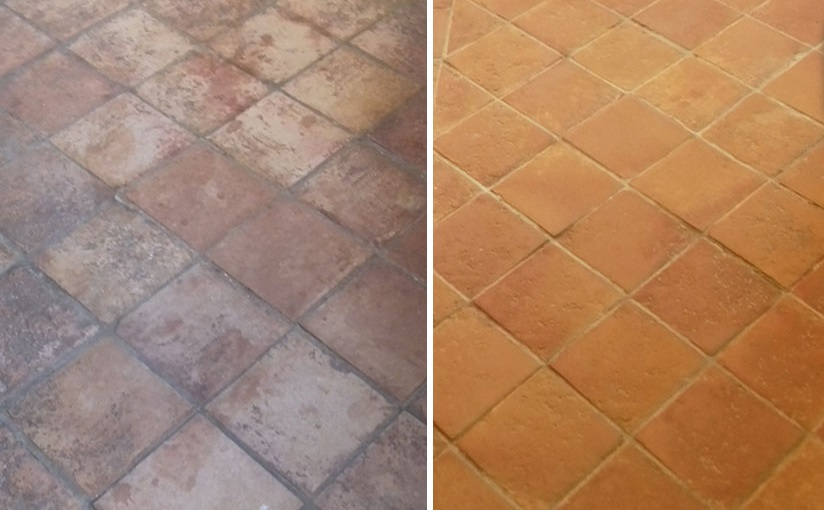 1970s Terracotta Tiled Floor Before and After Restoration Chilham Cottage