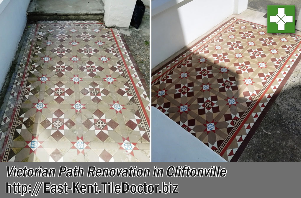 Victorian Tiled Path Before After Renovation Cliftonville Margate
