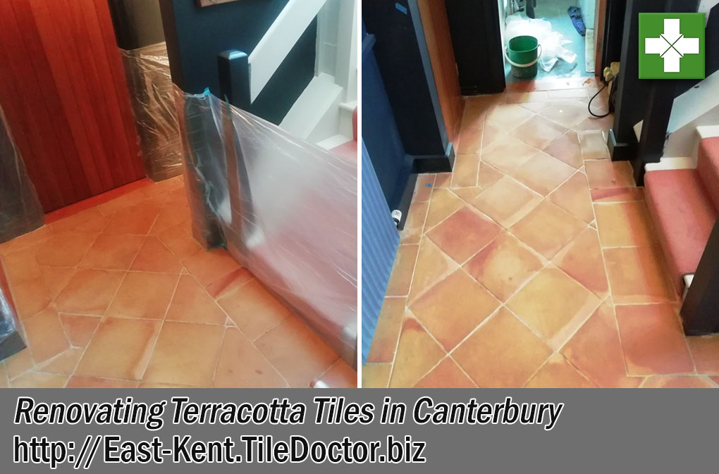 Saltillo Terracotta Tiles Floor Before After Renovation Canterbury