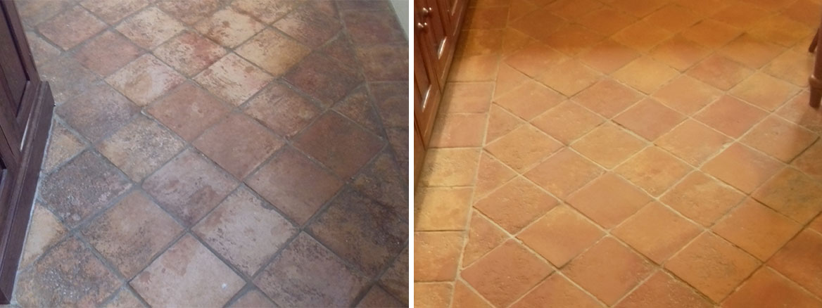 1970s Terracotta Tiled Floor Before and After Restoration Chilham Cottage 130200