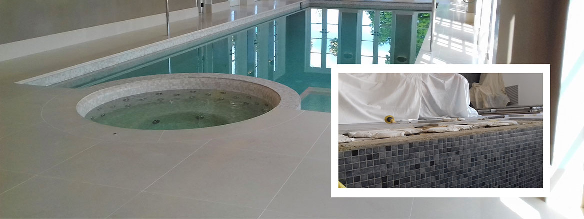 Limestone Swimming Pool Tile Surround After Repair and Clean Canterbury